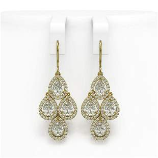 5.85 ctw Pear Cut Diamond Micro Pave Earrings 18K