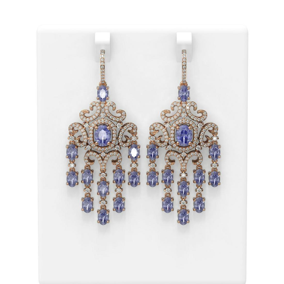 19.07 ctw Tanzanite & Diamond Earrings 18K Rose Gold -