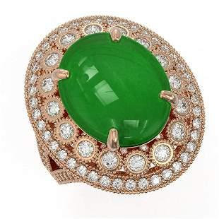 9.27 ctw Jade & Diamond Victorian Ring 14K Rose Gold -