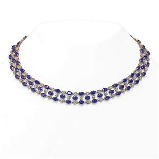 43.07 ctw Sapphire & Diamond Necklace 10K Rose Gold -
