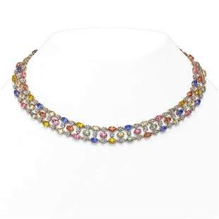 44.09 ctw Multi Color Sapphire & Diamond Necklace 10K