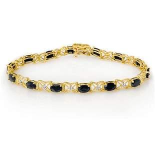 10.81 ctw Blue Sapphire & Diamond Bracelet 14k Yellow