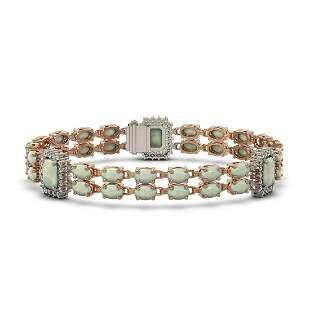 13.76 ctw Opal & Diamond Bracelet 14K Rose Gold -