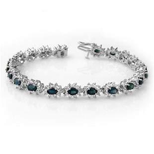 12.0 ctw Blue Sapphire & Diamond Bracelet 18k White