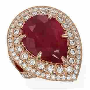 16.29 ctw Certified Ruby & Diamond Victorian Ring 14K