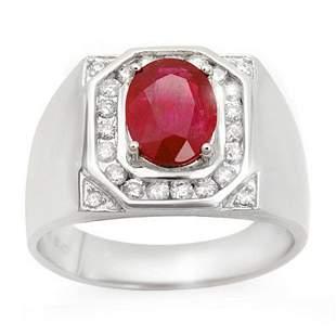 3.60 ctw Ruby & Diamond Men's Ring 14k White Gold -