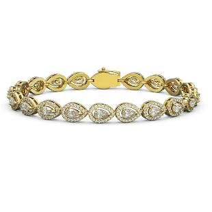 8.58 ctw Pear Cut Diamond Micro Pave Bracelet 18K