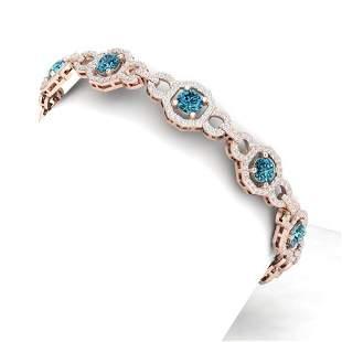 12 ctw SI/I Intense Blue Diamond Bracelet 18K Rose Gold