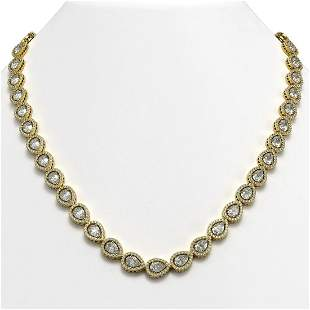 33.08 ctw Pear Cut Diamond Micro Pave Necklace 18K