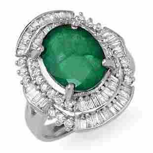 5.95 ctw Emerald & Diamond Ring 18k White Gold -