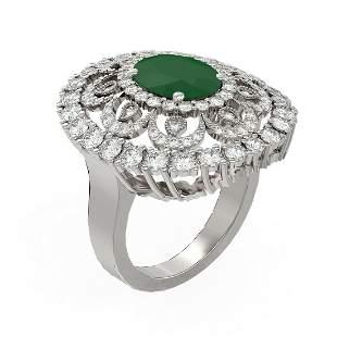 6.41 ctw Emerald & Diamond Ring 18K White Gold -