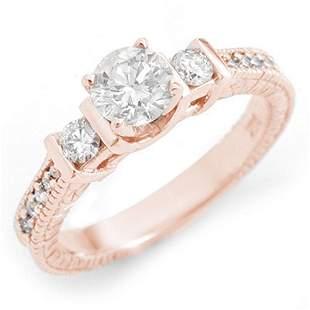 1.0 ctw Certified VS/SI Diamond Ring 14k Rose Gold -