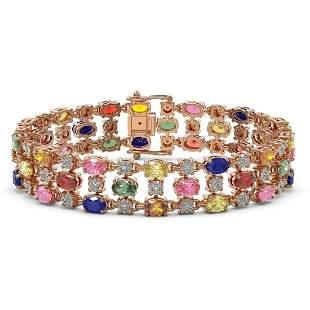 25.07 ctw Multi Color Sapphire & Diamond Bracelet 10K