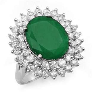 10.83 ctw Emerald & Diamond Ring 18k White Gold -