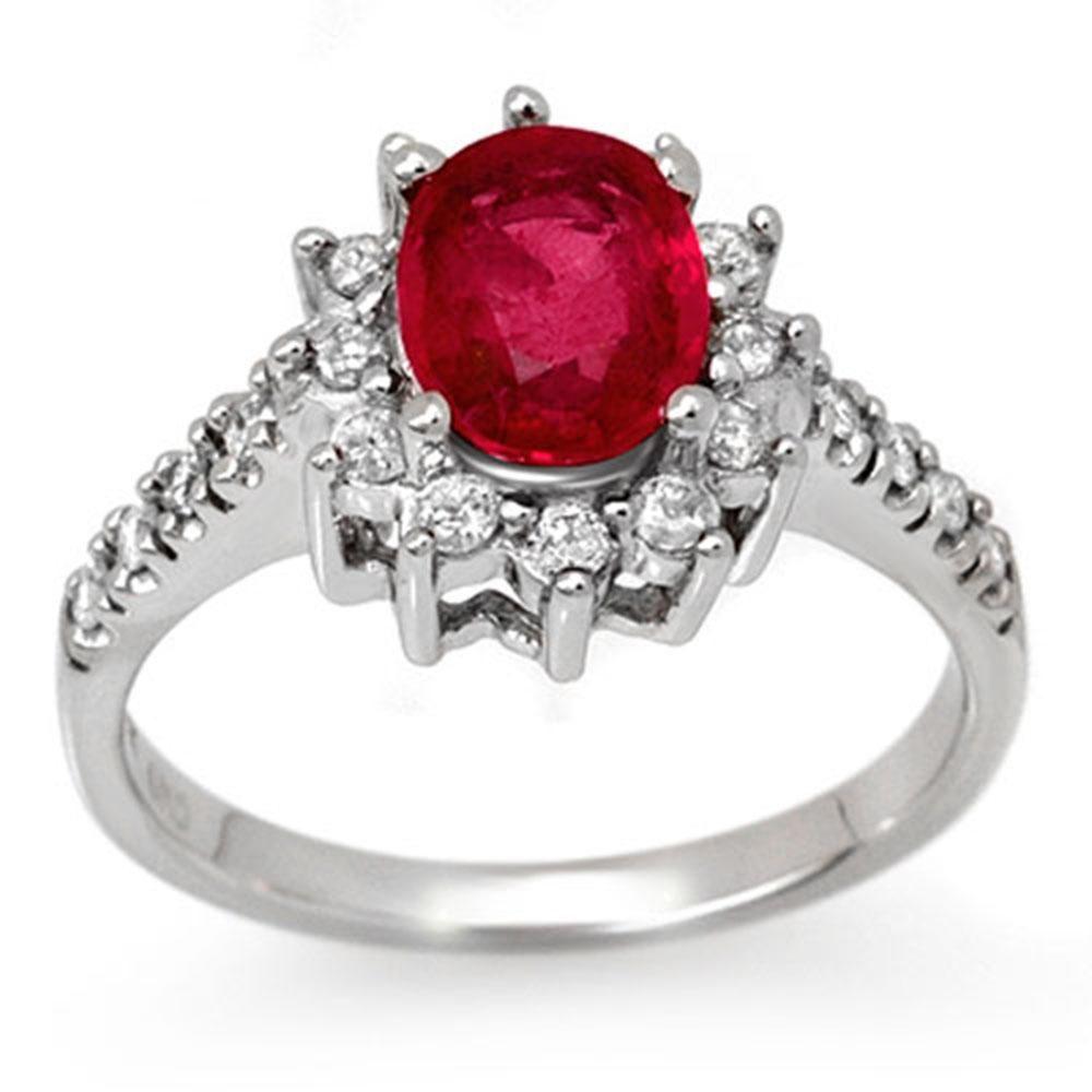 2.45 ctw Pink Sapphire & Diamond Ring 14k White Gold -