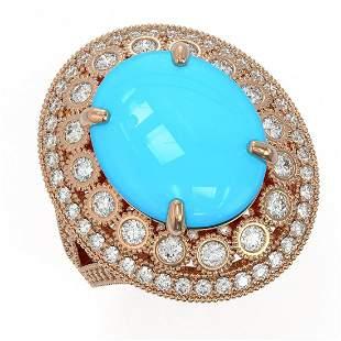 9.07 ctw Turquoise & Diamond Victorian Ring 14K Rose
