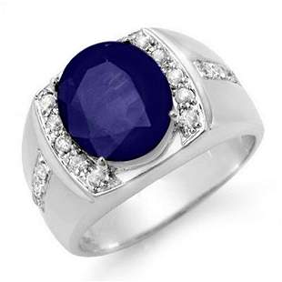 6.33 ctw Sapphire & Diamond Men's Ring 10k White Gold -