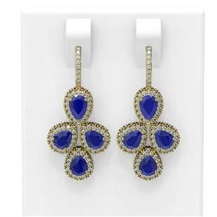 19.48 ctw Sapphire & Diamond Earrings 18K Yellow Gold -