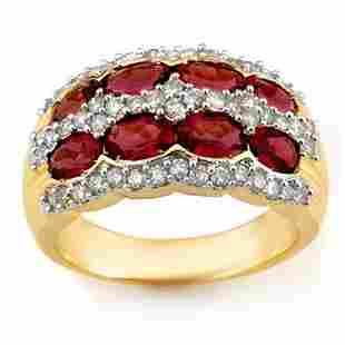 3.0 ctw Pink Tourmaline & Diamond Ring 14k Yellow Gold