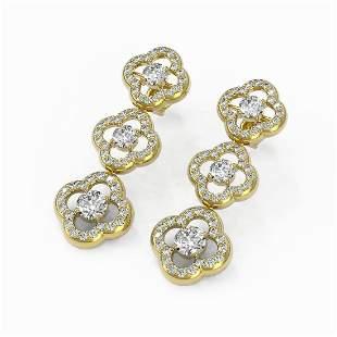 4 ctw Diamond Designer Earrings 18K Yellow Gold -
