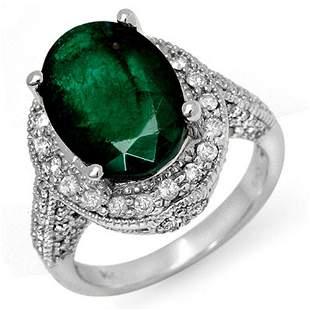 6.50 ctw Emerald & Diamond Ring 18k White Gold -