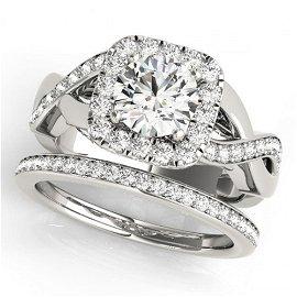 2.35 ctw Certified VS/SI Diamond 2pc Wedding Set Halo
