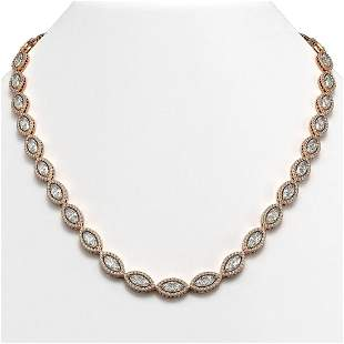 28.12 ctw Marquise Cut Diamond Micro Pave Necklace 18K