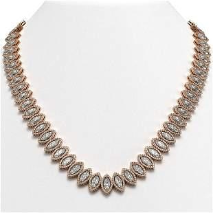 47.12 ctw Marquise Cut Diamond Micro Pave Necklace 18K