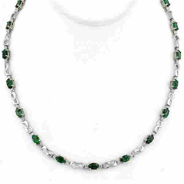7.02 ctw Emerald & Diamond Necklace 10k White Gold -