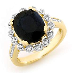 5.33 ctw Blue Sapphire & Diamond Ring 10k Yellow Gold -