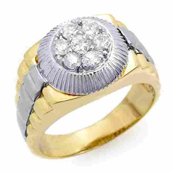 0.75 ctw Certified VS/SI Diamond Men's Ring 2-Tone 18k