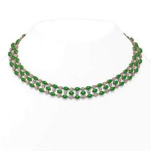 63.65 ctw Jade & Diamond Necklace 10K Rose Gold -