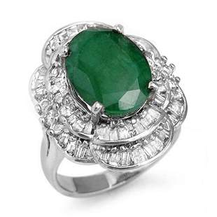 7.04 ctw Emerald & Diamond Ring 18k White Gold -