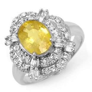 3.05 ctw Yellow Sapphire & Diamond Ring 18k White Gold