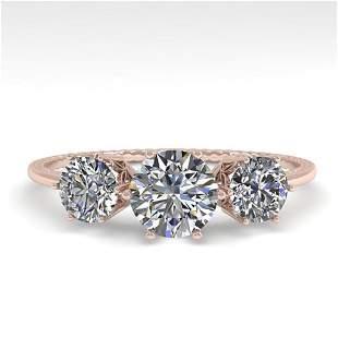 1 ctw Past Present Future VS/SI Diamond Ring 18k Rose