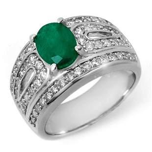 2.44 ctw Emerald & Diamond Ring 18k White Gold -