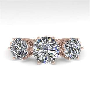 2 ctw Past Present Future VS/SI Diamond Ring 18k Rose