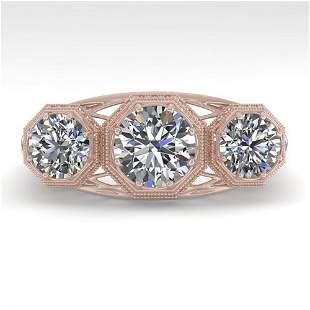 2 ctw Past Present Future Diamond Ring Art Deco 18k