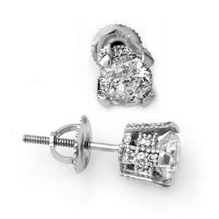 1.0 ctw Certified VS/SI Diamond Stud Earrings 14k White
