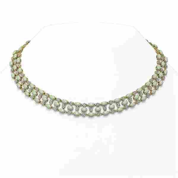 30.83 ctw Opal & Diamond Necklace 10K Yellow Gold -