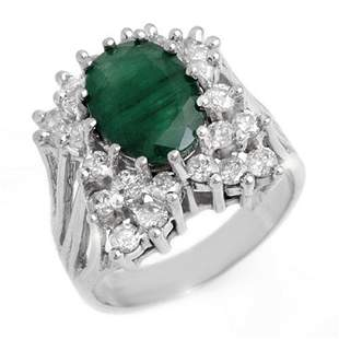 4.75 ctw Emerald & Diamond Ring 18k White Gold -
