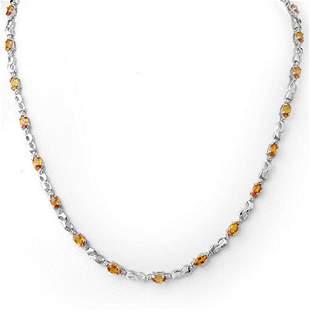 9.02 ctw Orange Sapphire & Diamond Necklace 10k White
