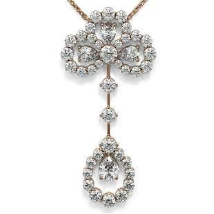 3.25 ctw Pear Cut Diamond Designer Necklace 18K Rose