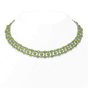 37.97 ctw Peridot & Diamond Necklace 10K White Gold -