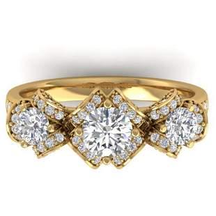 2 ctw VS/SI Diamond Art Deco 3 Stone Ring 14k Yellow