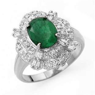 3.31 ctw Emerald & Diamond Ring 18k White Gold -