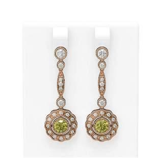 2.19 ctw Fancy Yellow Diamond Earrings 18K Rose Gold -