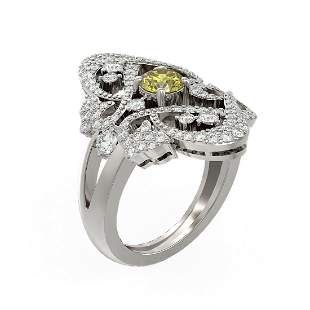 2.02 ctw Fancy Yellow Diamond Ring 18K White Gold -