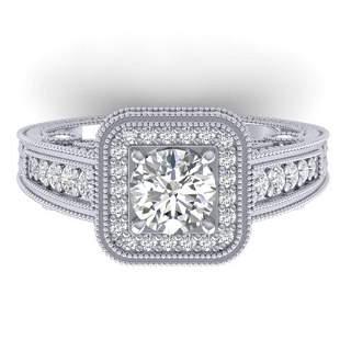 2 ctw Certified VS/SI Diamond Art Deco Halo Ring 14k