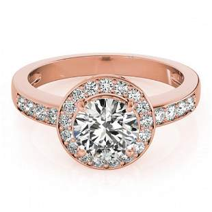 1.2 ctw Certified VS/SI Diamond Halo Ring 18k Rose Gold